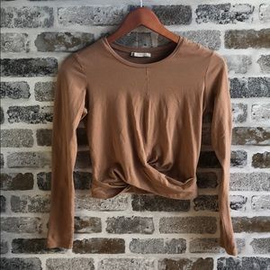 ZARA long sleeve crop top
